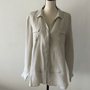 Gerard Darel Linen Khaki Button Down Shirt Size 14